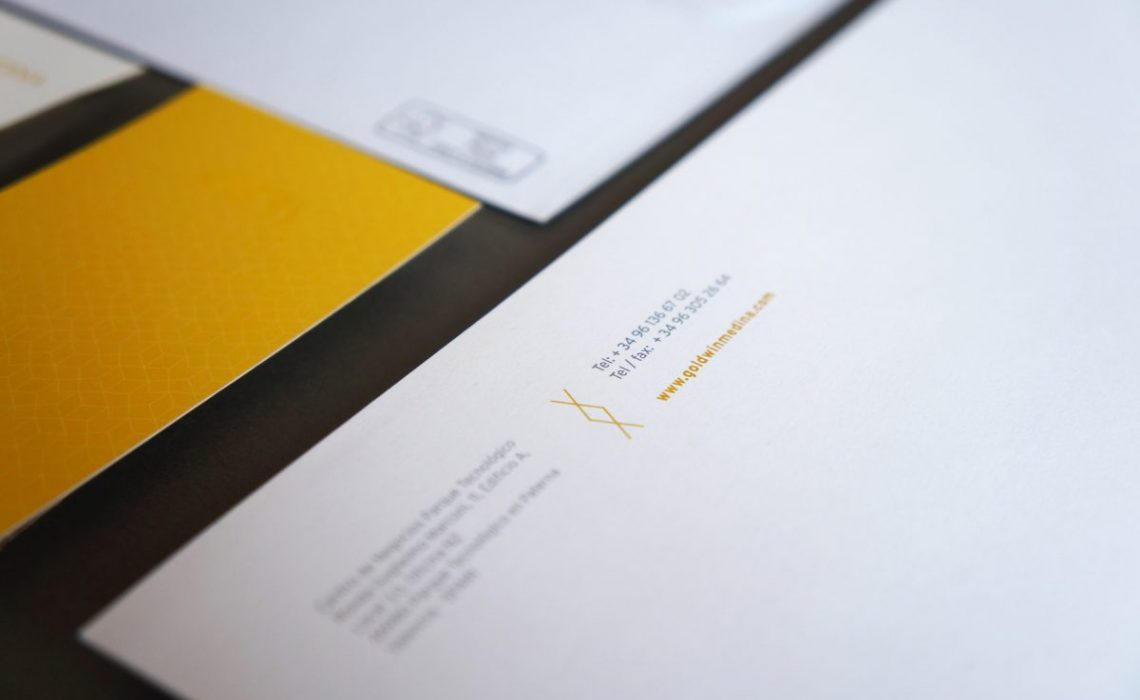 interestate typeface detail for corporate blank sheet for goldwin medina by jorge herrera studio