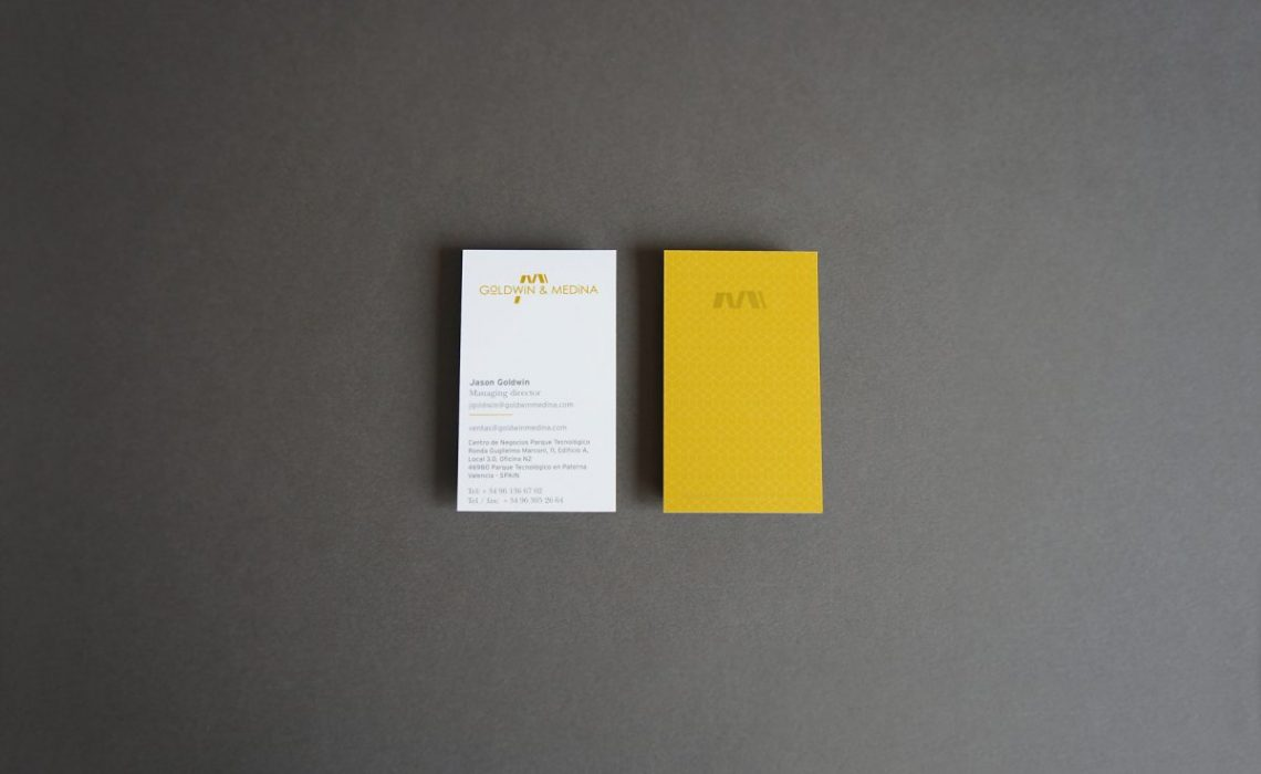 front and back side goldwin medina bussiness card by jorge herrera studio