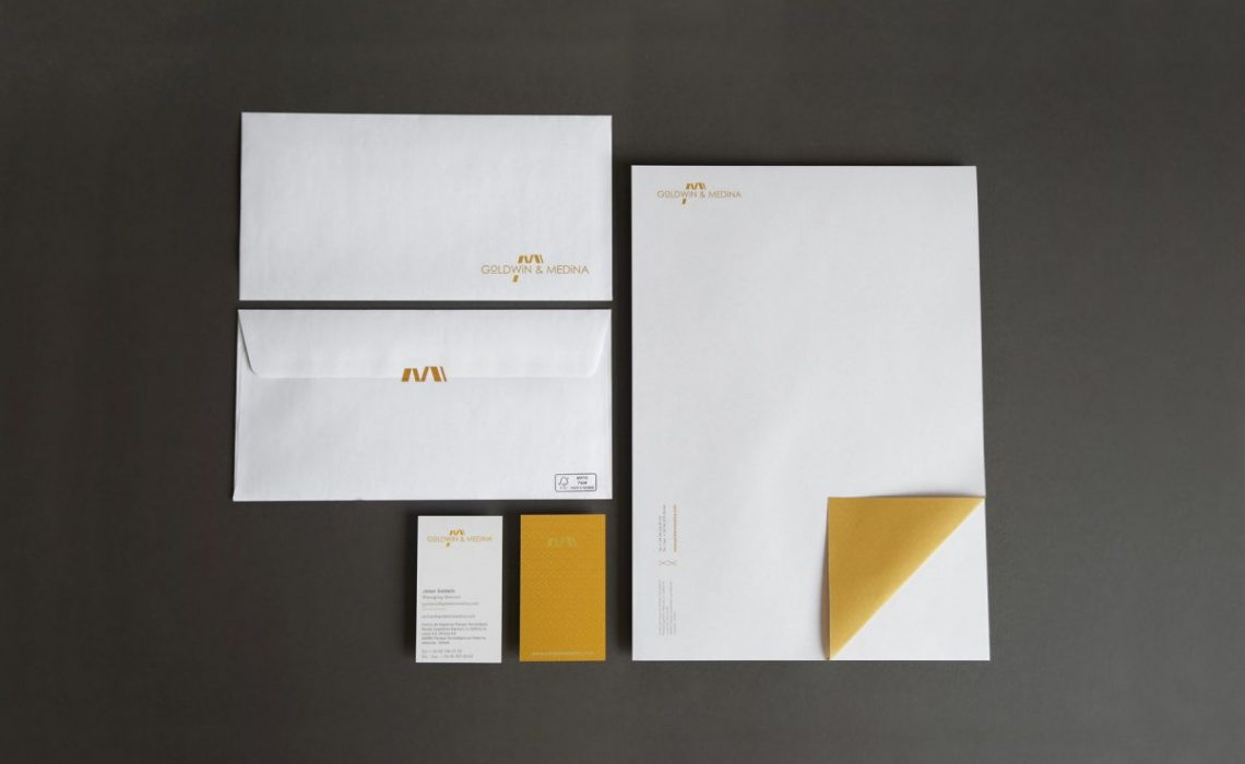 complete stationery set for goldwin medina by jorge herrera studio