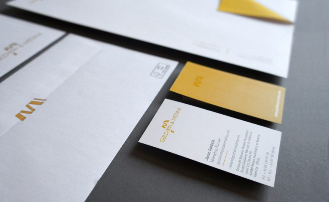 bussines card and envelope detail for goldwin medina by jorge herrera studio